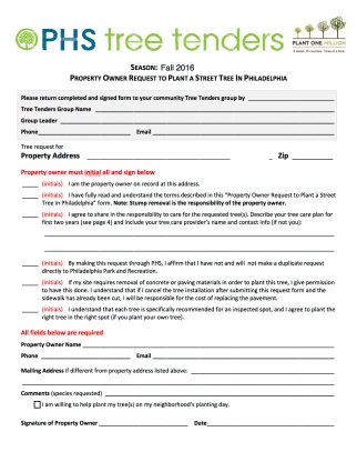 Tree Request Form - Fall 2016